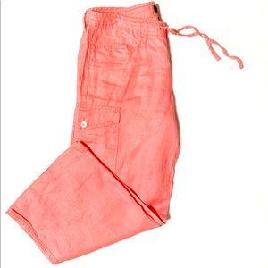 Express 100% Linen Pink Drawstring Cargo Pant-3/4